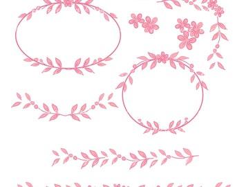Digital border for all use, Vintage flowers border and frame, pink ,  instant download clip art