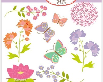 Flowers and Butterfly Clip Art _ Purple Green Summer Clip Art. SALE, Spring Flowers Baby Shower Clipart,Instant download clip art