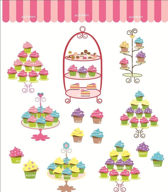Digital clip art for all use, cupcake tree.  instant download clip art