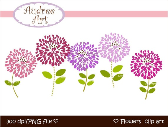 CLIPART FLOWERS , Blooming 3 , Digital clipart Png,Jpeg File ,instant download clip art