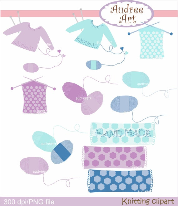 Digital clip art Knitting clipart blue and purple ,  instant download clip art
