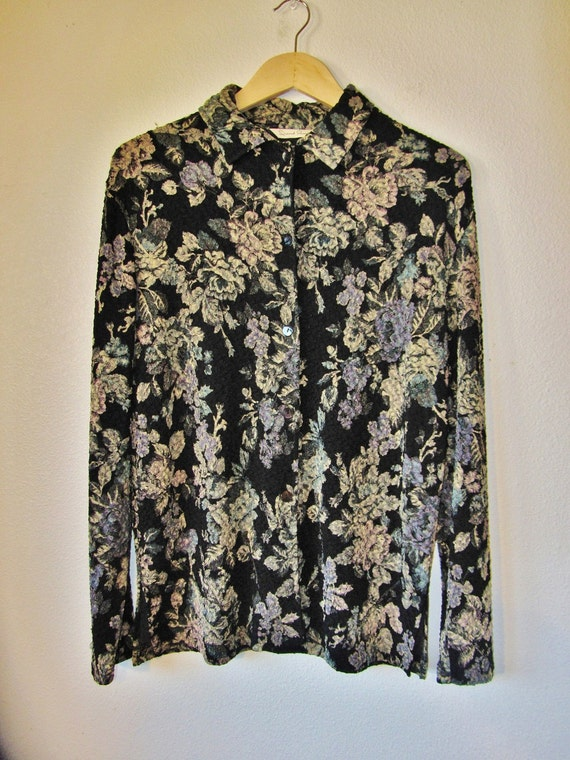 ON HOLD for Virginia C. 90s Black Slinky Collared Button Up with Pastel Roses. S. M. L.