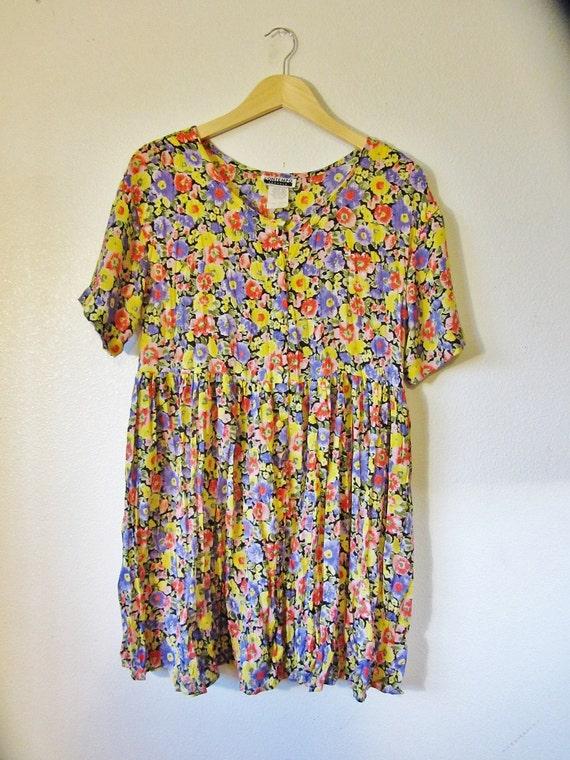 Sale. 90s Neon Floral Acid Trip Babydoll  Button Down Dress. S/M/L