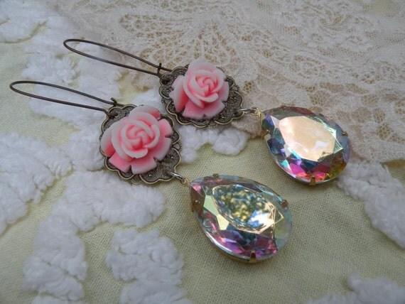 BIG swarovski rhinestone rose earrings shabby pink dangle ooak one of a kind