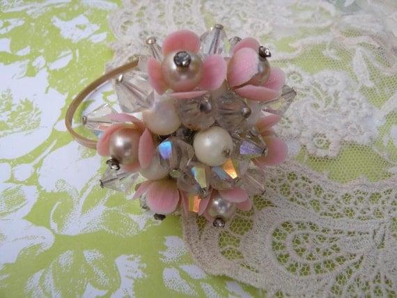 KISS vintage crystal wrist corsage cuff bracelet flower petals assemblage altered