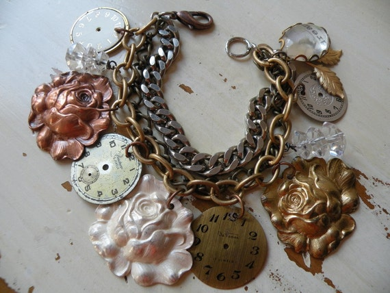 DREAM bracelet tangle rose watch face charm layers mixed metal one of a kind shabby chic assemblage