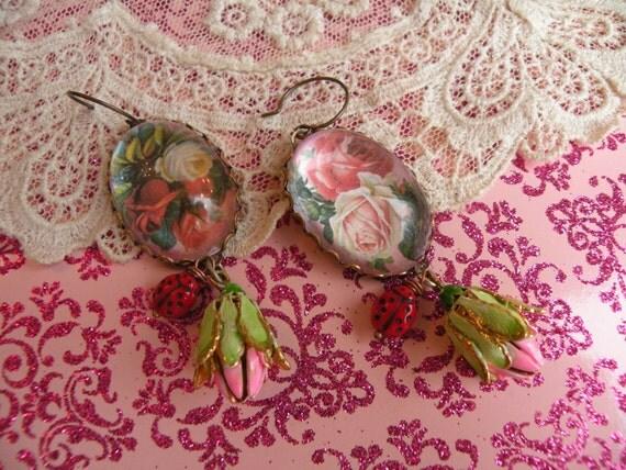 ROSE GARDEN earrings vintage enamel rosebuds ladybugs assemblage one of a kind ooak pink blossoms