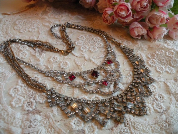 SPARKLE vintage rhinestone necklace assemblage ooak one of a kind shabby chic layers multi