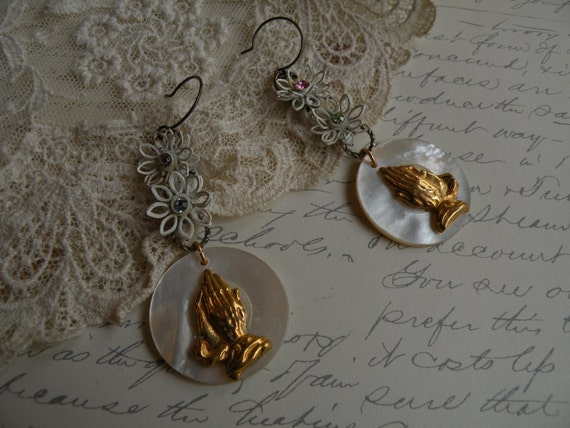 reserved for hannah PRAYERS vintage religious assemblage earrings enamel floral old mop buttons