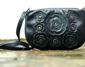 SALE Leather Lacy Flower Messenger in Midnight Black