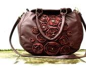 RESERVED Midnight Blue Leather Bag SALE Studded Floral Applique Rosettes