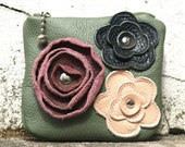 Leather Chancge Coin Pouch in Green . Studded Floral Rose Applique FREE SHIPPING