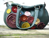 Black Friday Cyber Monday Bag Handbag Purse in Dark Green Leather . Multi-Colored Leather Rustic Fall Autumn Flowers