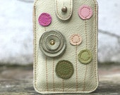 iPhone iTouch  HTC Case Pastel Green Pink Leather Floral Applique