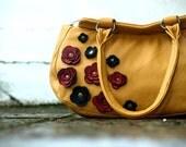Modern Ochre Leather Bag Handbag Retro Rustic Poppy Applique