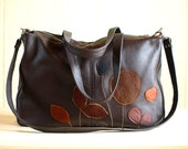 Brown Leather Purse Satchel Shoulder Cross Body Bag Applique Bag