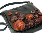Black Leather Purse Bag Flower Applique Messenger  Bag Made to order