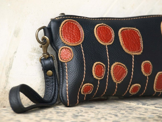 Leather Wallet  / Wristlet . Black and Spicy Cinnamon .  Rustic Floral Geometric Applique