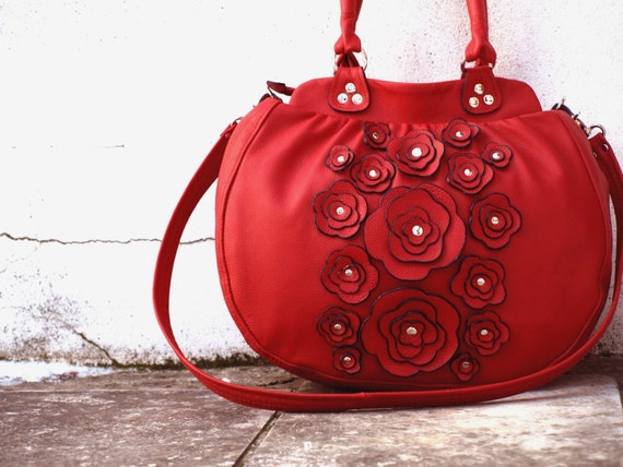 Leather Lacy Flowers Leather Handbag in Red