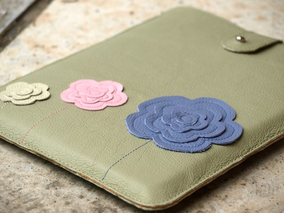 Boho iPad  Case Sage Leather, Pink and Blue Flowers.  Ready to ship