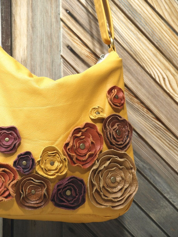Honey Gold Leather Bag Leather Messenger Purse Rustic Harvest Leather Floral Applique Fall Fashion