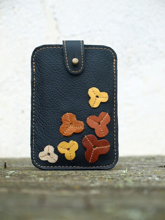 iPhone Case Black Leather . Earth Tone Floral Applique Embellishment . Christmas Gift Wrapped