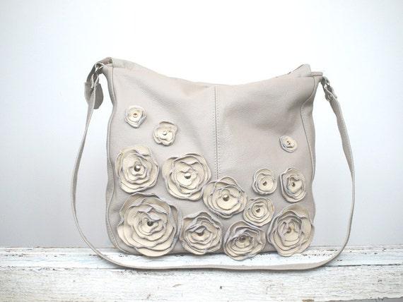 Grey Leather Handbag Leather Messenger Bag Subtle Flower Roseette Applique Purse