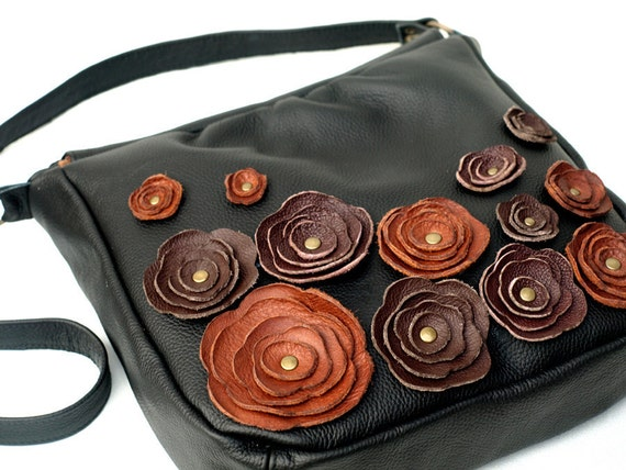 Black Leather Purse Bag Flower Applique Messenger  Bag Made to order