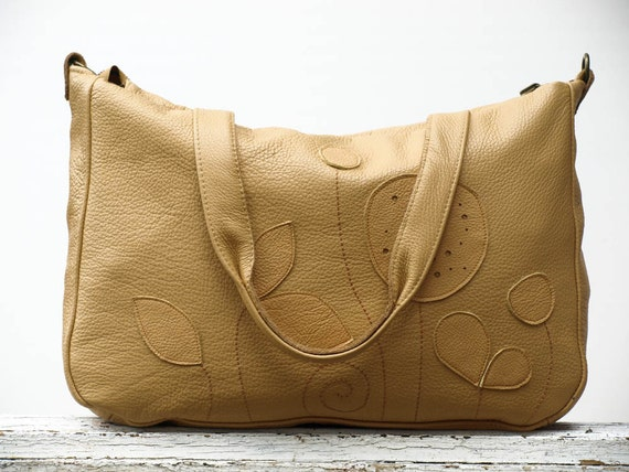Tan Leather Purse Bag Botanist XXL Travel Luggage Weekender  Applique Purse Summer Fashion