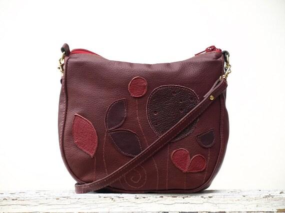 Plum Leather Purse Little Leather Summer Cross Body Bag Botanist Applique Purse