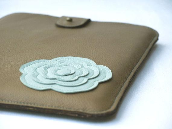 iPad Case iPad Sleeve iPad Cover Retro Modern Flower Mint Green & Coffe Crema Brown Leather