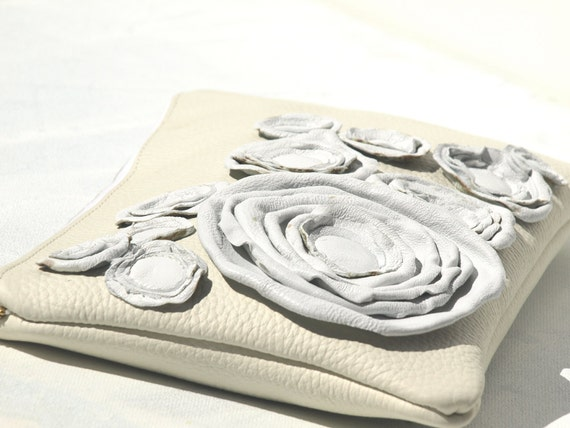 RESERVED Bridal Clutch Summer  Wedding Clutch Pearly White Rosettes in Champagne Leather