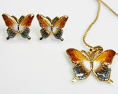 Butterfly set - earrings and necklace