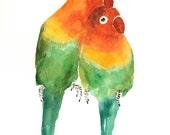 LOVE BIRDS by DIMDI Original watercolor painting 8X10inch