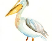 PELICAN by DIMDI Original watercolor painting 8X10inch xxxxAll the animals that you wantxxxx