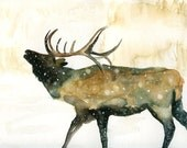 ELK by DIMDIart Original watercolor painting 14x11inch