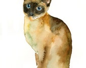 CAT by DIMDI Original watercolor painting 8x10inch