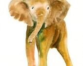 ELEPHANT by DIMDI Original watercolor painting 8x10inch (Vertical orientation)
