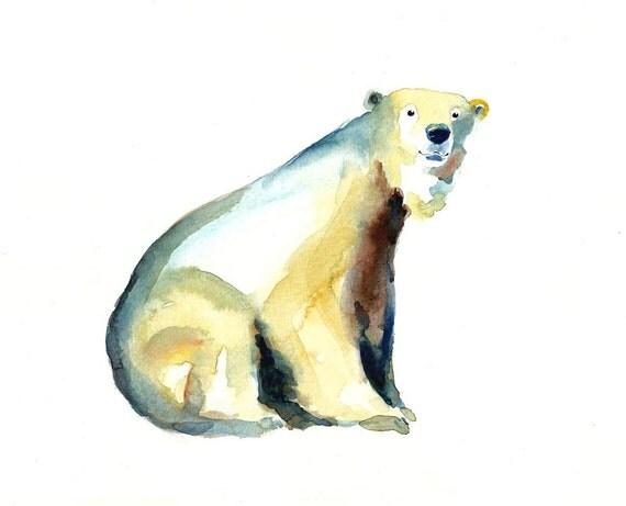 POLAR bear by DIMDI Original watercolor painting 10x8inchxxxxAll the animals that you wantxxxx