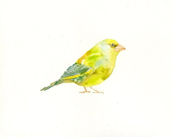GREENFINCH by DIMDI Original watercolor painting 10x8inch