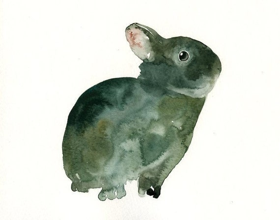 BUNNY by DIMDI Original watercolor painting 10X8inch