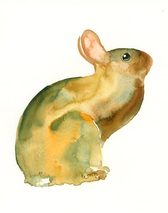 BUNNY by DIMDI Original watercolor painting 8X10inch