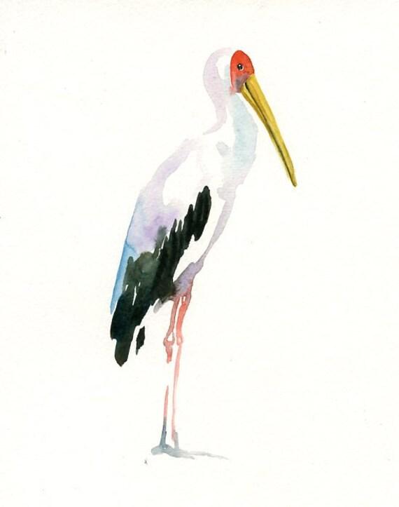 YELLOW billied STORK by DIMDI Original watercolor painting 8X10inch