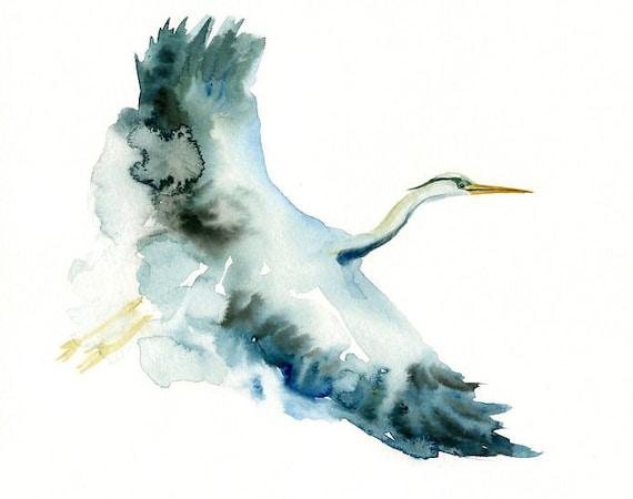 GREAT blue HERON by DIMDI Original watercolor painting 10x8inch