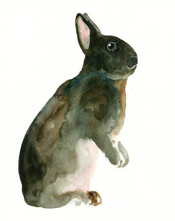 BUNNY Original watercolor painting 8X10inch
