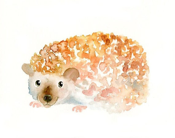HEDGEHOG by DIMDI Original watercolor painting 10X8inch