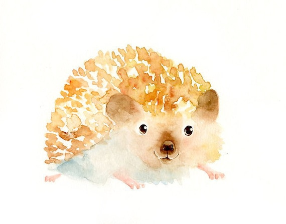 HEDGEHOG by DIMDI Original watercolor painting 10X8inch