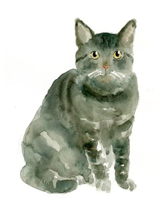 CAT Original watercolor painting 8x10inch