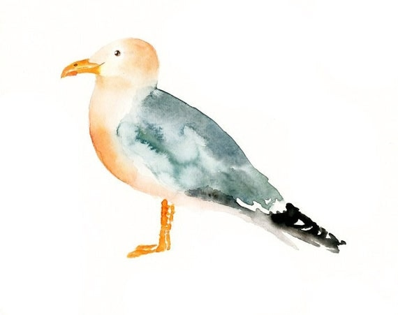SEAGULL by DIMDI  original watercolor  painting 10x8inch