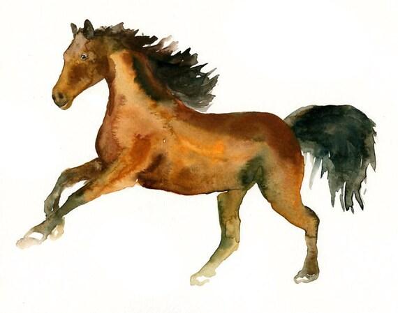 HORSE by DIMDI Original watercolor painting 10x8inch